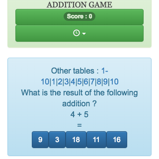 Addition tables game to learn, revise, memorize addition tables from 1 to 20 online.