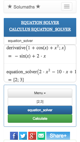 Symmbolic calculation online, solumaths