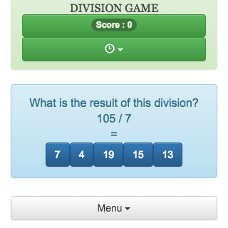 Online game of calculation, which allows practicing integer division.