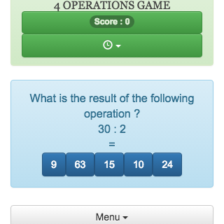 This online game of mental calculation, allows to revise addition, subtraction, multiplication and division, It helps students in learning arithmetic operations.