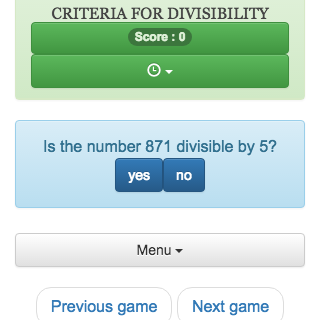 Online calculation game, which allows to train to recognize if a number is divisible by 2, 3, 4, 5, 9, 10, 25, 100.