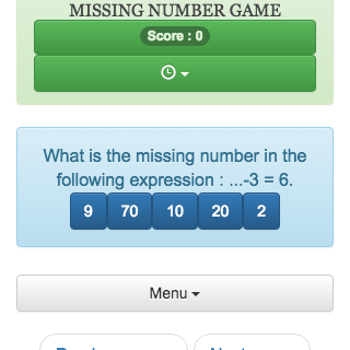 Online calculation game: You must find the missing number in a mathematical expression.