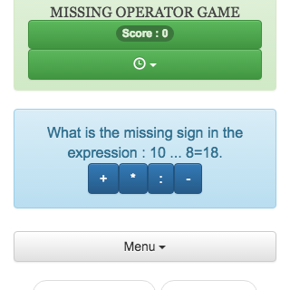 Online calculation game consisting of finding the missing operator in a mathematical expression.