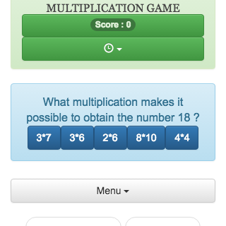 The goal is to choose from a list the multiplication that allows to calculate a given number online.
