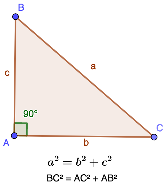 Right triangle in A, theorem of Pythagoras, calculation of the hypotenuse