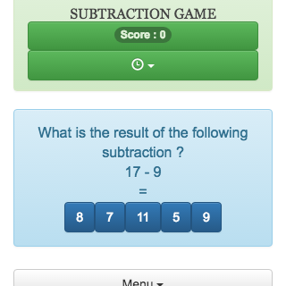 Online  mental calculation game  to help to memorize the subtraction tables.