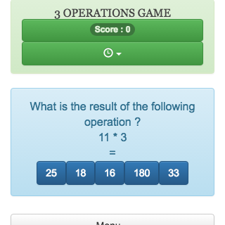 Online mental calculation game, allows to review addition, subtraction and multiplication,  this game helps students to practise arithmetic operations
