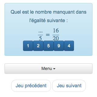 Pour cette fraction, les Enfants peuvent s'entrainer à manipuler les fractions égales et les produits en Croix.  Ce jeu recommande la voiture la pratique du calcul de tête, qui utilise des fractions.