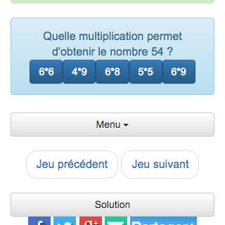 Liste des derniers jeux de calcul r alis s par le joueur - Jeu en ligne table de multiplication ...