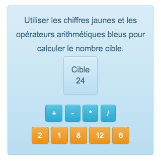 Le compte est bon est un jeu gratuit de calcul en ligne utilisable, de 7 à 77 ans, notamment en CE1, CE2, CM1, CM2, 6ème. Le but de ce jeu de calcul mental est de reconstituer un nombre à l'aide d'autres nombres et d'opérations arithmétiques. Ce jeu de maths permet de s'entrainer efficacement au calcul rapide.
